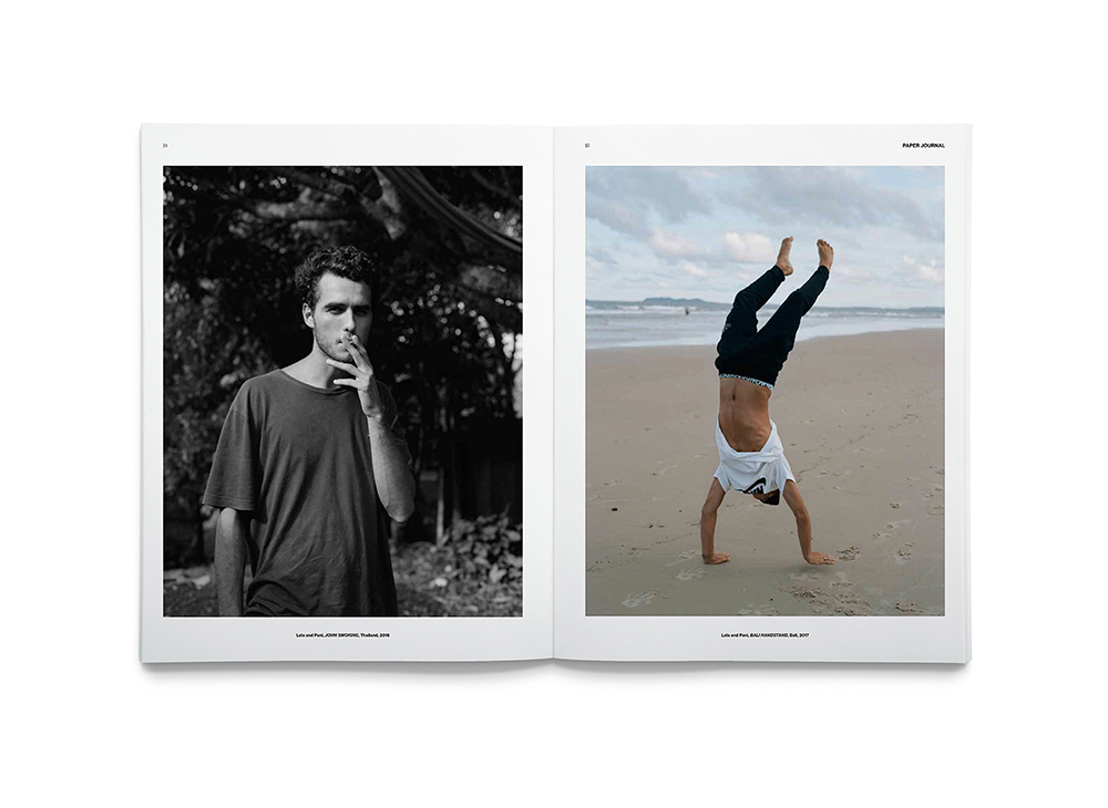 Spreads from Paper Journal 01, including Lola & Pani's series Our Strong Brotherhood