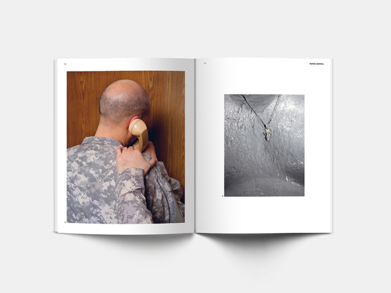 Spread from Paper Journal 01 showing work from Farah Al Qasimi