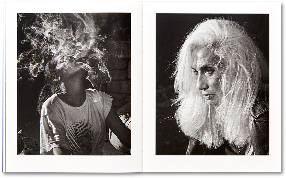 A spread from Adam Pape's photobook, Dyckman Haze, featuring 2 portraits of women.