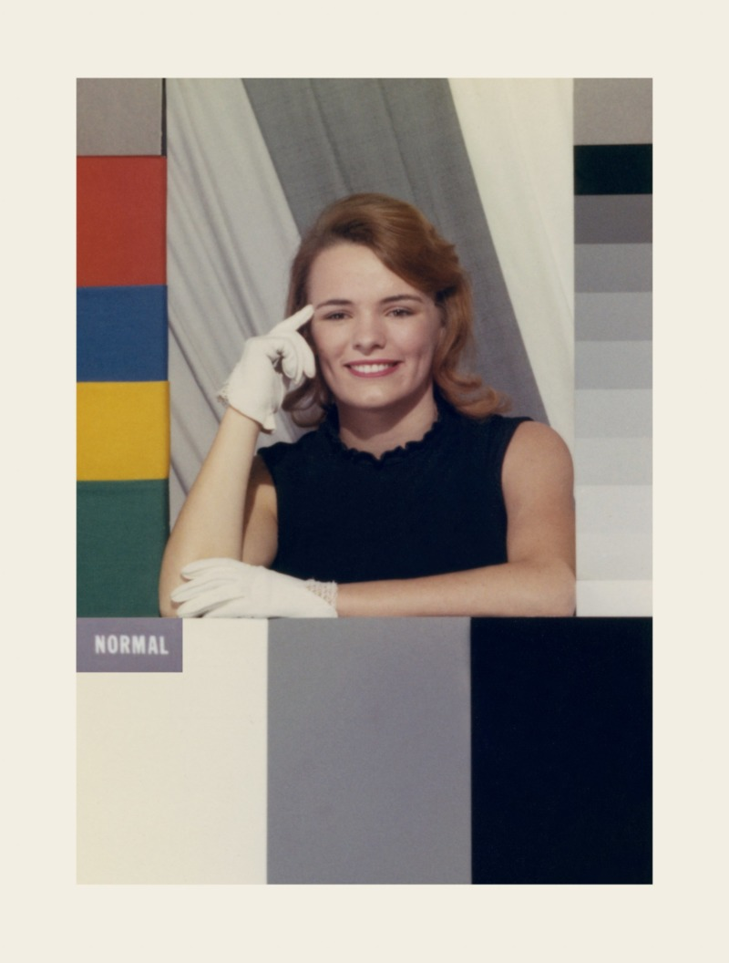 A 'Shirley card'. A test card with a white woman wearing a black dress and white gloves, surrounded by colour reference bars.