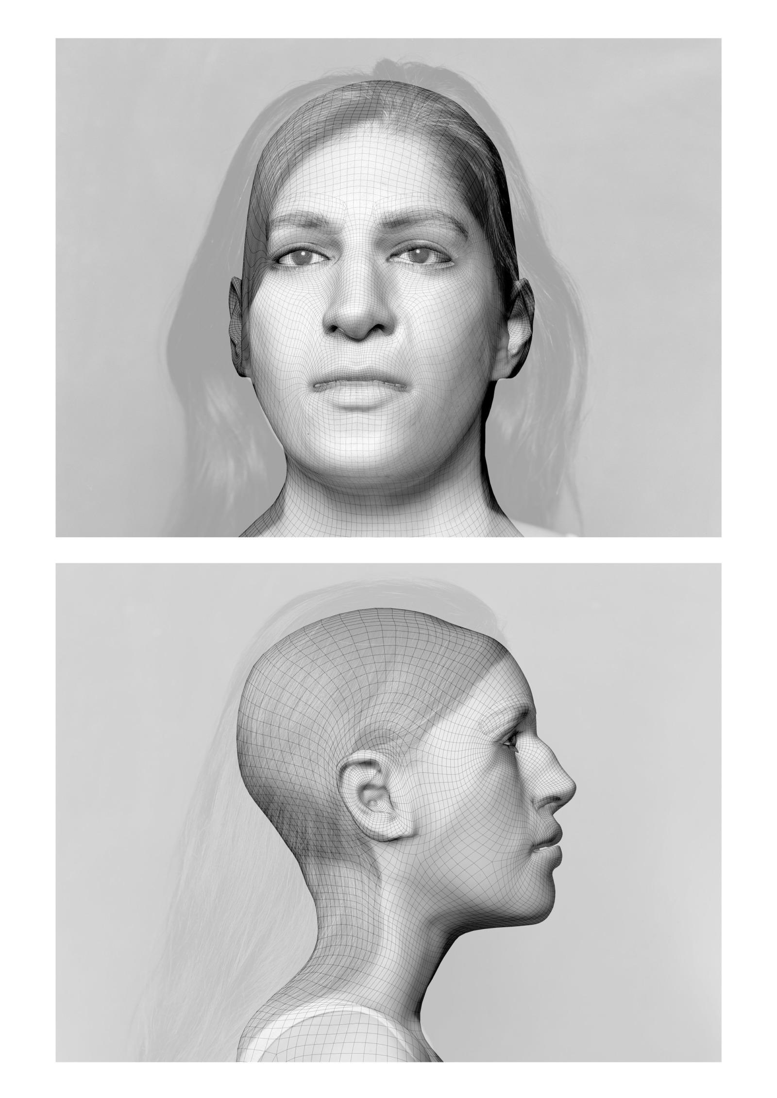 CGI renderings of the artist's own head.