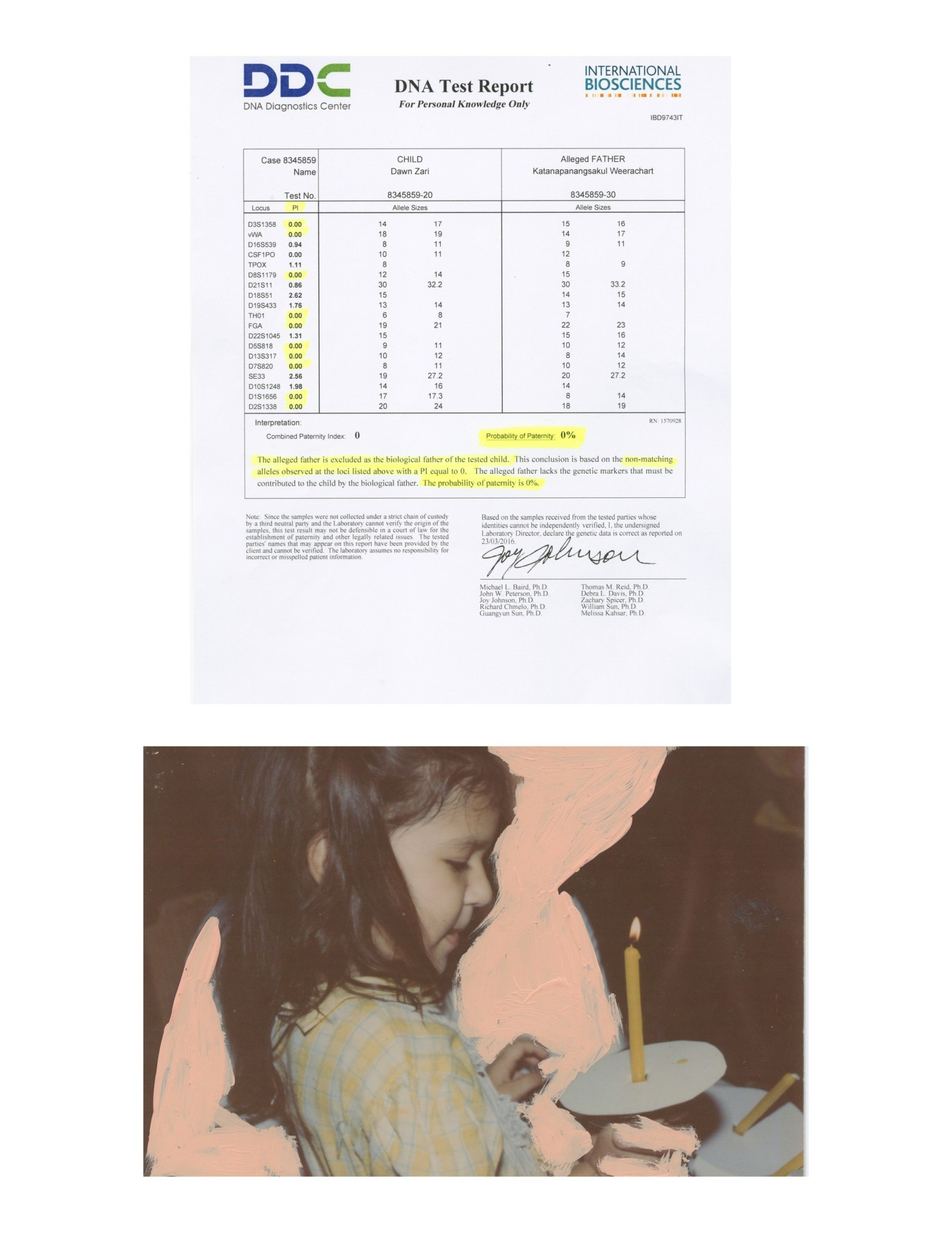 A scan of a negative DNA test above the edited photograph of a child holding a candle.