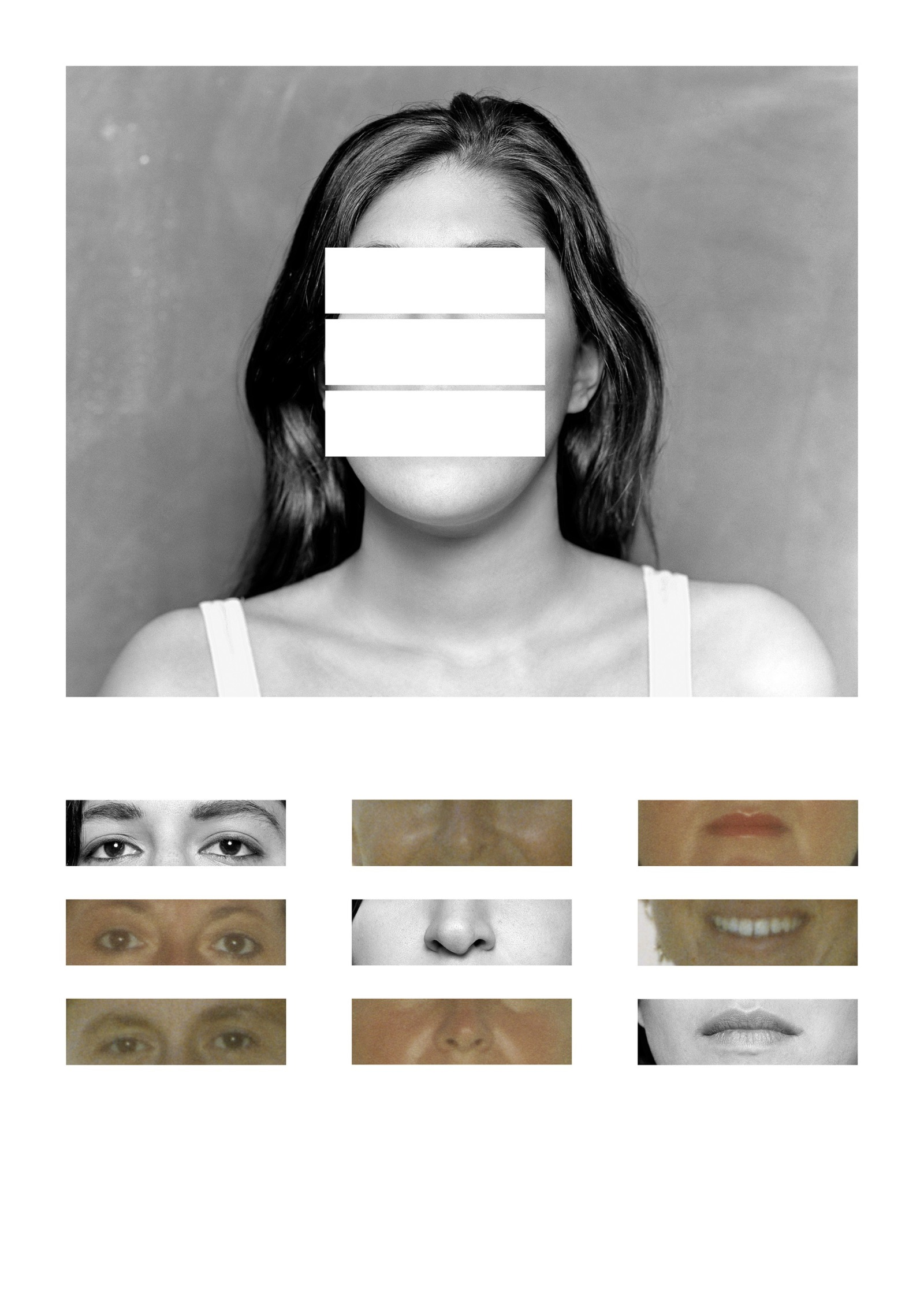 An edited photo of a woman's face, her eyes, nose, and mouth are compared to those of other anonymous people.