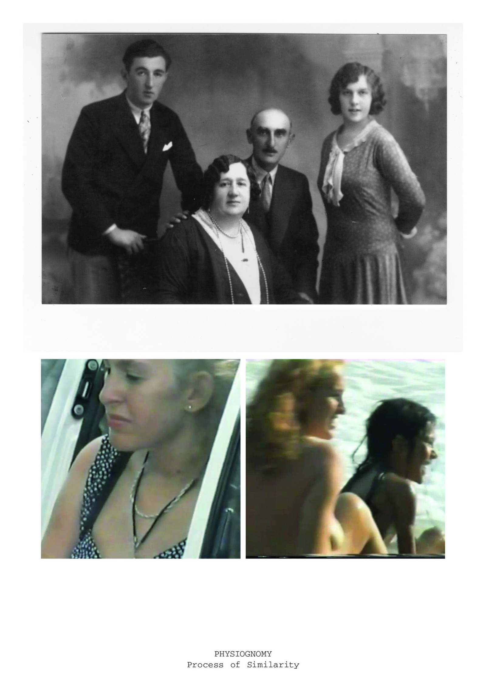 An early twentieth century family portrait is paired with stills taken from a video of a late twentieth century family holiday.