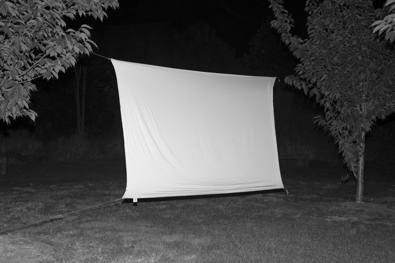 A white sheet suspended from two trees, illuminated by a soft light.